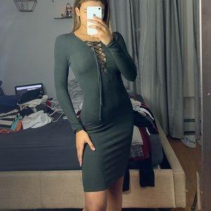 long sleeved midi dress